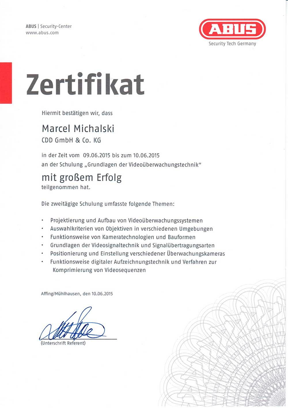 Marcel Michalski Zertifikat ABUS
